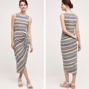 Bailey 44 Grey Gathered Stripe Midi Dress